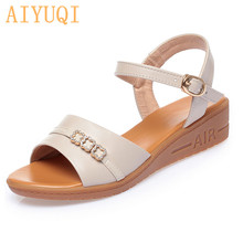 Women Sandals Wedge 2020 New Summer Footwear Rhinestones Fashion Middle-aged Mother Large Size 41 42 43