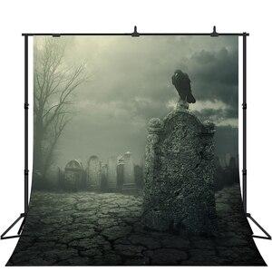 Lyavshi Хэллоуин фон кладбище черная ворона пасмурное небо фотография Фон ужас ночь Вечерние реквизит для фотостудии