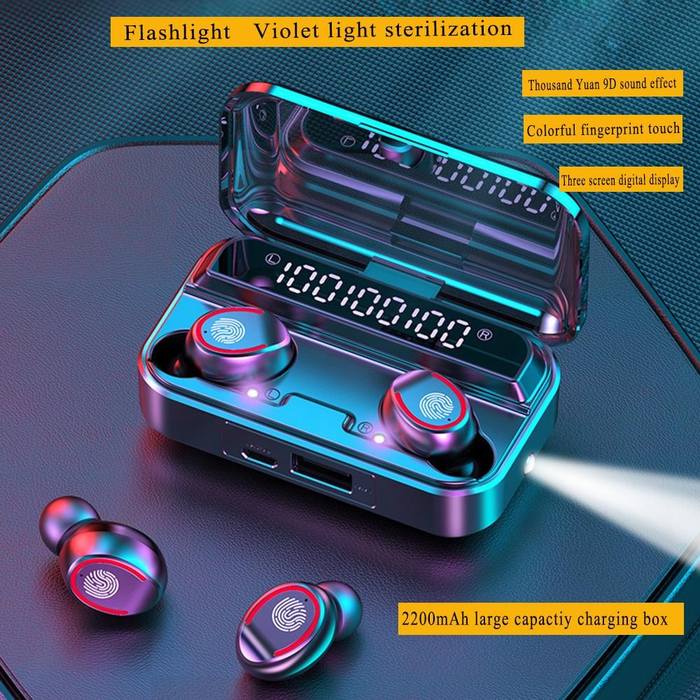 Bluetooth V5.1 наушники; Беспроводные наушники; Фонарик; УФ-Стерилизация; Микрофон; Спортивные наушники; 2200 мА/ч; Зарядное устройство; Телефон