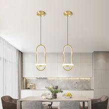 Moderne doré pendentif LED lampe pour salon chambre chevet nordique minimaliste lustre longue ligne suspension lumière décoration de la maison
