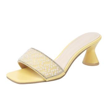 Niskie buty kobieta 2021 Pantofle obcasy Pantofle kwadratowe obcasy luksusowe slajdy najnowsze projektant bloku PU rzym podstawowe tkaniny gumowe Fashi tanie i dobre opinie SLWFGT Niska (1 cm-3 cm) Wsuwane CN (pochodzenie) Na wiosnę jesień Na zewnątrz Wysokie buty RUBBER kapcie Dobrze pasuje do rozmiaru wybierz swój normalny rozmiar