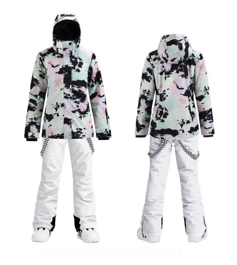 Thick Warm Women Ski Suit Waterproof Windproof Breathable Skiing Snowboarding Jacket Pants Set Women Winter Snow Wear Suits