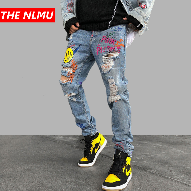 New Skinny Jeans Men Streetwear Destroyed Ripped Jeans Homme Hip Hop Broken Graffiti Print Pencil Biker Denim Pants Hole GM482
