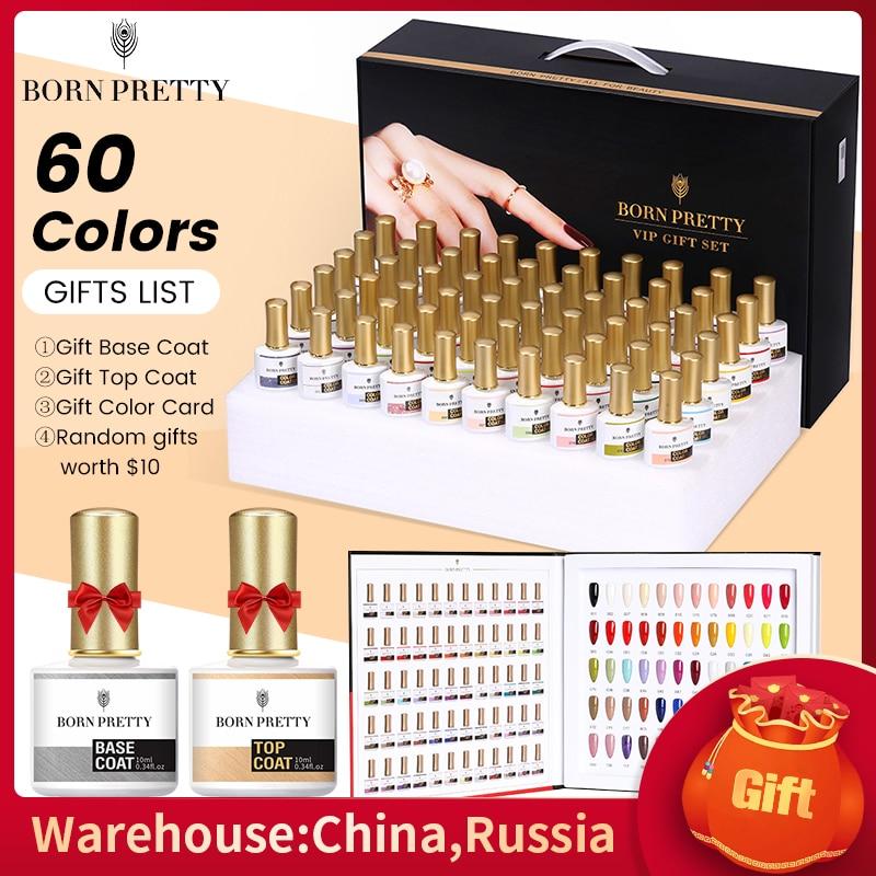 BORN PRETTY Gel Nail Polish Set 60Colors Soak Off Gel Nail Varnish Kit Gel for Professional manicuring with Base Coat Top Coat