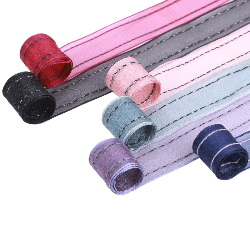 100yards 10 16 25 40mm double stitched stripes organza sheer ribbon for kids hair bow diy accessories bouquet flower packing bow in Ribbons from Home Garden