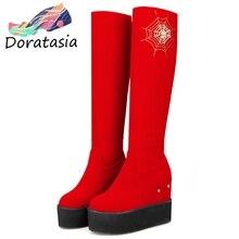 DORATASIA Plus Size 34-44 Sweet High Platform Boots Ladies slip-on Knee High Fur Boots Women 2019 High Hidden Heel Shoes Woman цены онлайн
