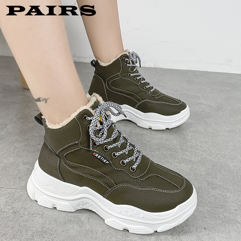 Winter Shoes Women Boots Lace-up Sneakers Fur Warm Fleeces Snow Boots High Flat Casual Cotton Shoes Solid Wear Resistant
