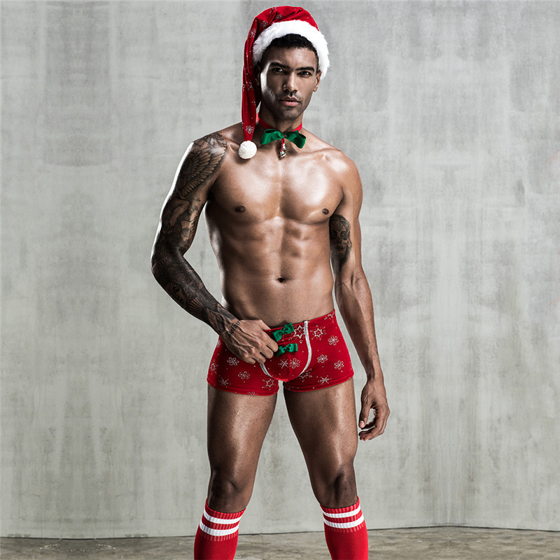 Men Christmas Lingerie Sexy Christmas Underwear Set Outfits Hot Erotic Costumes Exotic Apparel Sexy Panties Pantyhose For Men