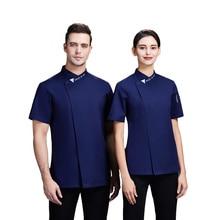 Men Women Kitchen Restaurant Uniform Shirt Summer Chef Jacket Bakery Uniform Pastry Cooking Clothes Coffee Shop Overalls