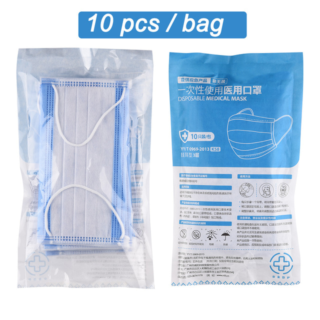 200pcs CE Certification Disposable Medical Surgical Mask 3-Layer Non-woven Disposable Soft Breathable Anti Flu Hygiene Face Mask 5