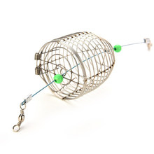 Stainless Steel Wire Fishing Lure Cage Fish Bait Lure Fishing pesca Accessory Bait Cage Fishing Trap Basket Feeder Holder(China)