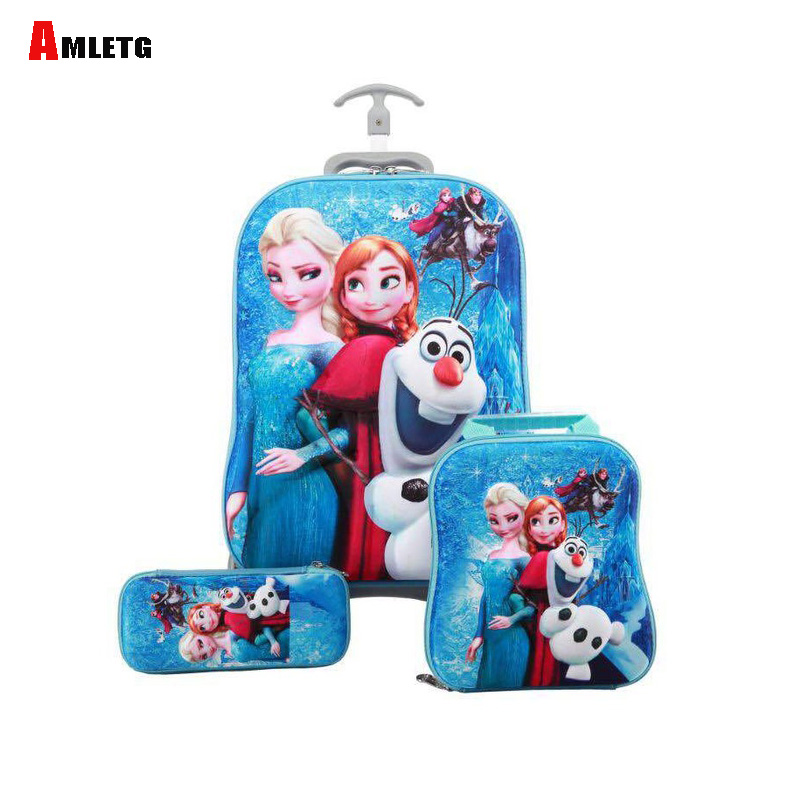 Kids Suitcase Luggage-Bags Wheeled-Bag School-Backpack Rolling Travel Girls Children title=