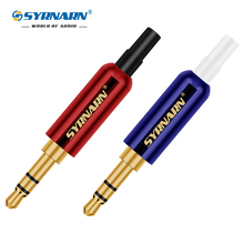 цена на 1pcs 3.5mm Audio Plug Gold-plated with Tail 3Pole Male Adapter Earphone Plug Copper Shell SYRNARN Connector DIY Stereo Headphone