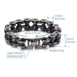 Image 3 - Mens Motorcycle Chain Bracelet Black Bracelet Punk Bike Chain Bracelet Stainless Steel Retro Motorcycle Bracelet Wholesale