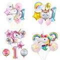 Единорог вечерние воздушные шары на день рождения с изображением единорога украшения номер детские игрушки Воздушные шары День рождения в...