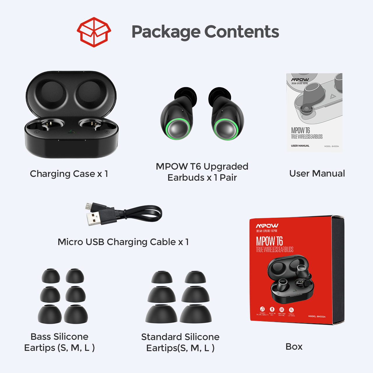 Mpow T6 TWS Wireless Bluetooth 5.0 Earphones 9