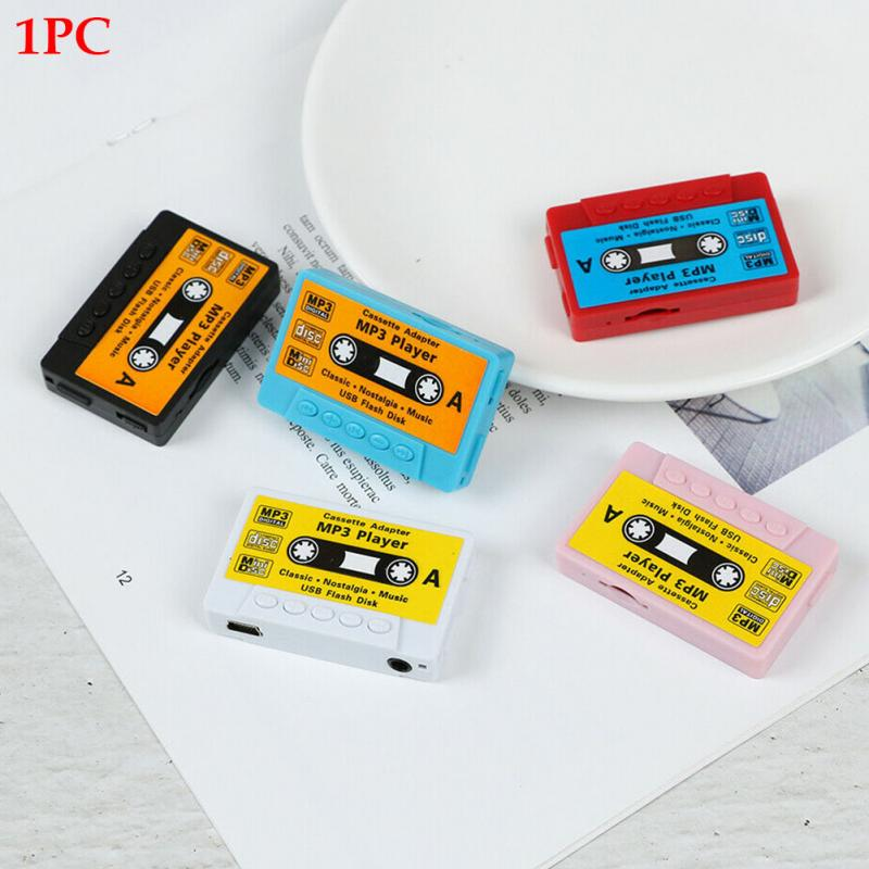 Tape Shape Mini MP3 Player Cute Sport Music Player Rechargeable USB Port Retro MP3 Support TF Card Reader Kid Children Gift