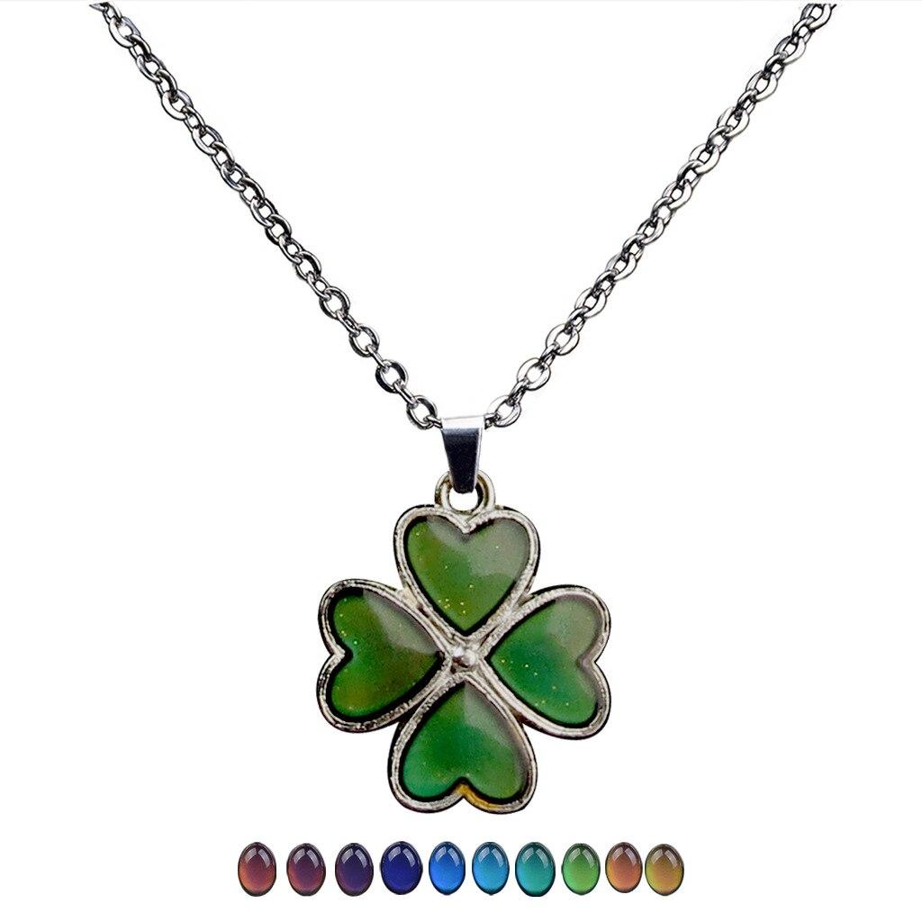 Fashion Charm Clover Petal Temperature Color Changing Pendant Necklace Women's Choker Wholesale