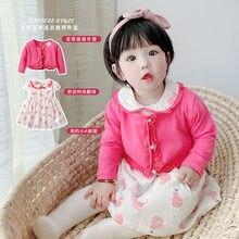 Yg marca roupas infantis, 2021 primavera e verão novas crianças saia, casaco rosa, bebê gola manga curta princesa saia