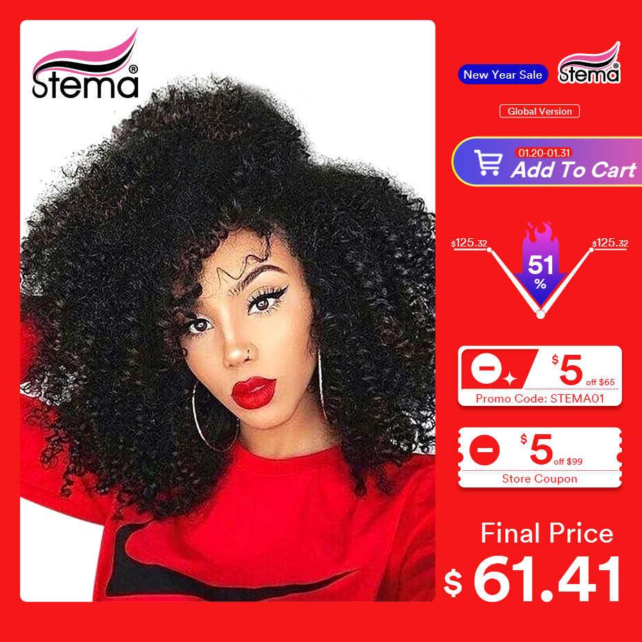 Peluca rizada Afro Stema 13x4 peluca frontal de encaje 8-30 pulgadas Pre Plock con pelo de bebé 150% pelucas de cabello humano brasileño para mujeres negras