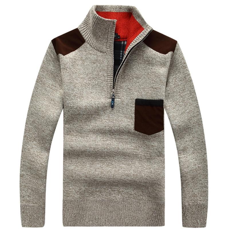 2019 Autumn Casual High Quality Men's Sweater Standing collar Fleece Knittwear Mens Keep warm Sweaters Pullovers M-3XL