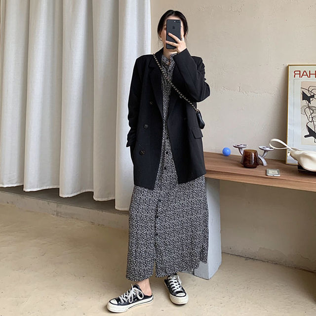 2021 Free Shipping Spring Autumn New Loose Black Coat Suit Women Fashion Simple Commuter Work Wear Jacket 4
