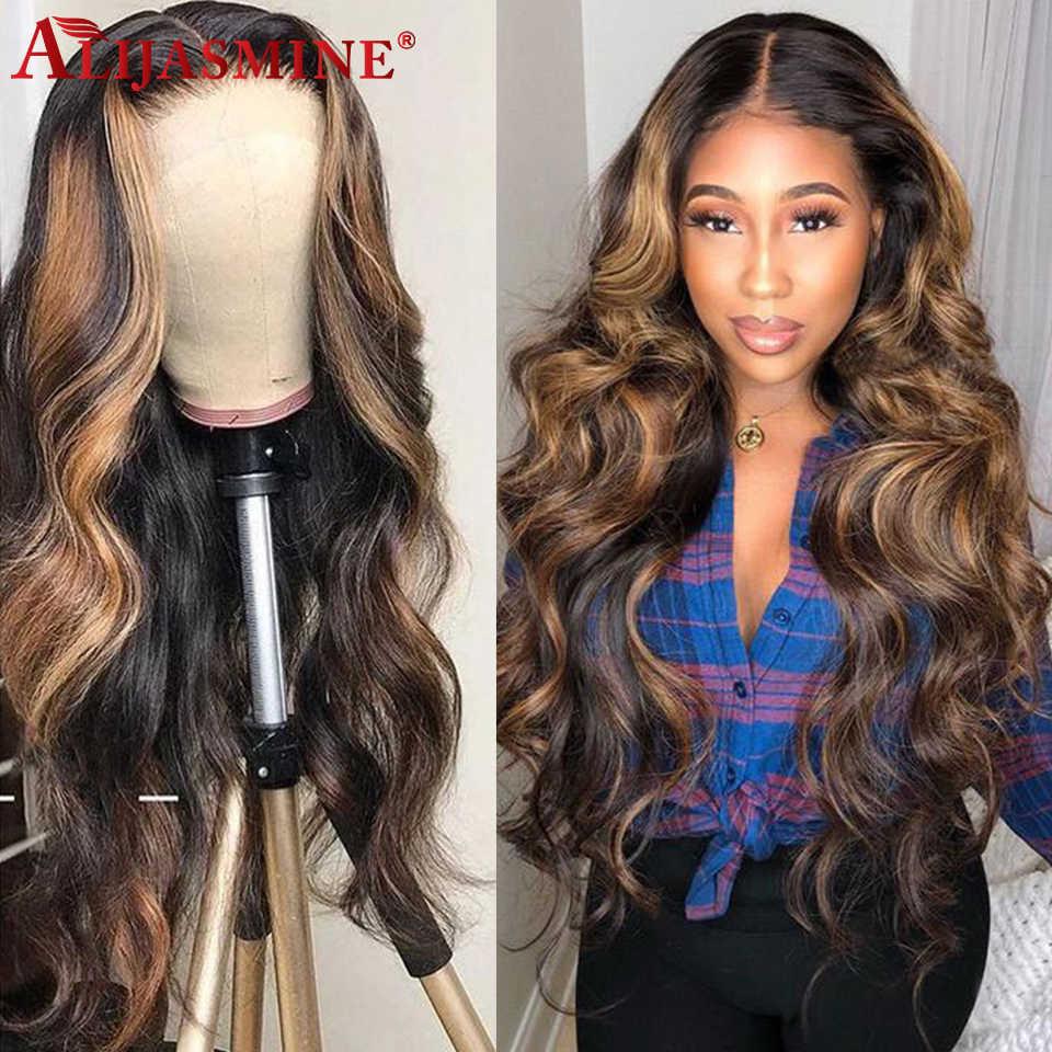 13X6 Honing Blonde Gekleurde Kant Voor Menselijk Haar Pruiken Voor Zwarte Vrouwen Hoogtepunt Ombre Pruik Braziliaanse Remy Body wave Preplucked 150