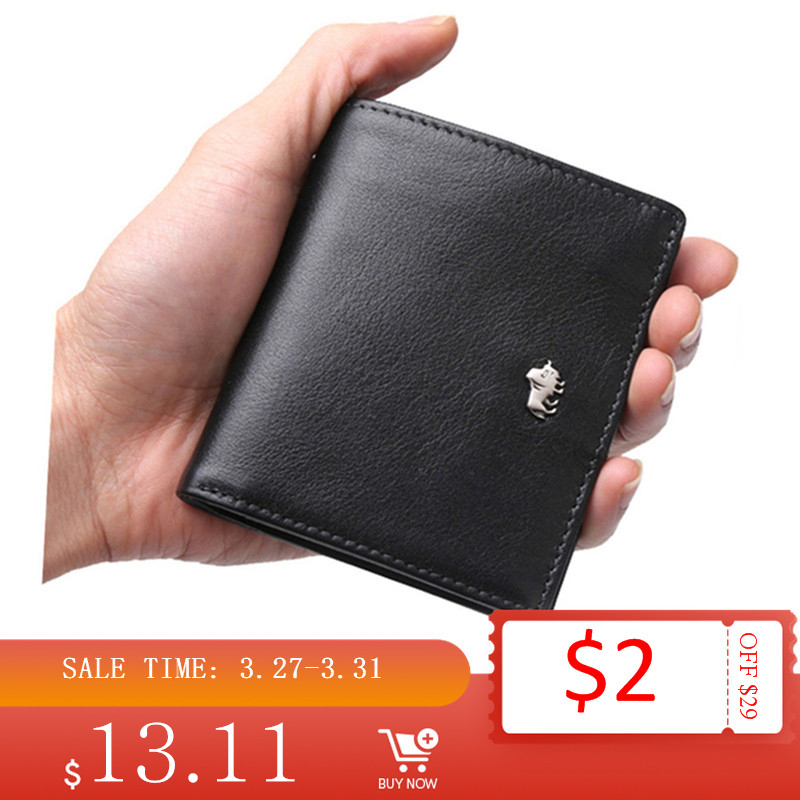 BISON DENIM Short Wallets For Men Genuine Leather Wallet Men Coin Pocket Card Holder Purse RFID Blocking Small Wallet W9317