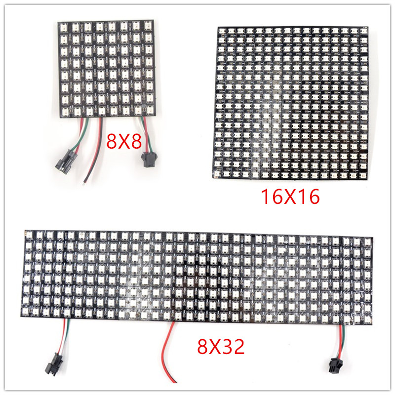 16x16 8x32 8x8 LED Pixels WS2812B panneau numérique Flexible SK6812 LED panneau adressable individuellement couleur de rêve DC5V