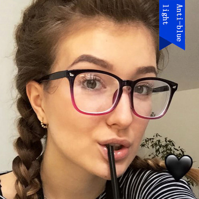New Blue Light Blocking Computer Glasses Women Men Square Frame Transparent Eyeglasses Anti-blue Ray Optical Spectacles