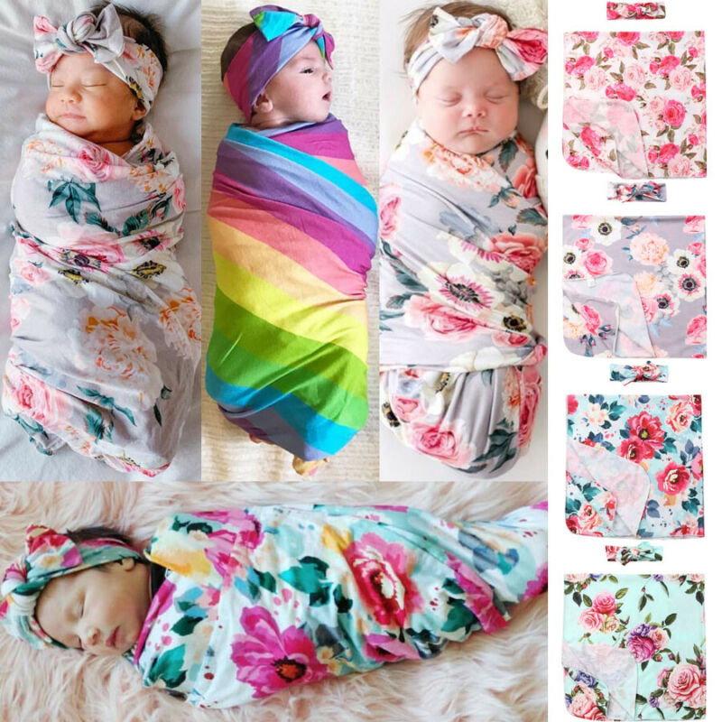 PUDCOCO 2Pcs Newborn Baby Girl Floral Swaddle Wrap Blanket Swaddling Sleeping Bag+Headband Set 0-6M