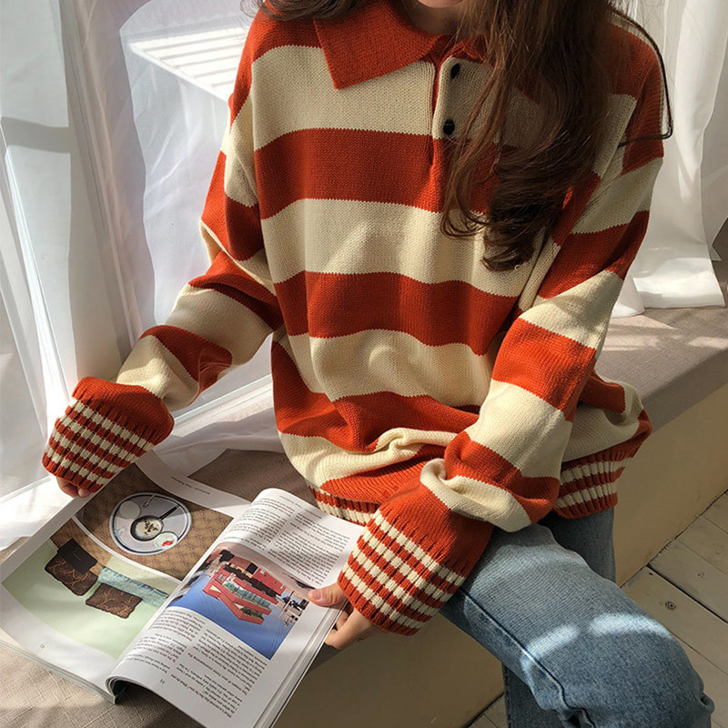 Harajuku Striped Hit Color Women Kintted Sweater Long Sleeve Casual Loose Female Pullover Top 2019 Spring Autumn Female Jumper