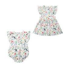 Рождественская Одинаковая одежда для сестры; комбинезон с оленем для маленьких девочек; комплект с платьем