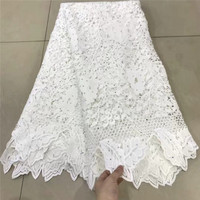 white Guipure Lace Nigerian Wedding Dress Lace African Fabric Water Soluble Chemical Lace Floral Embroidery Cord Lace Fabric