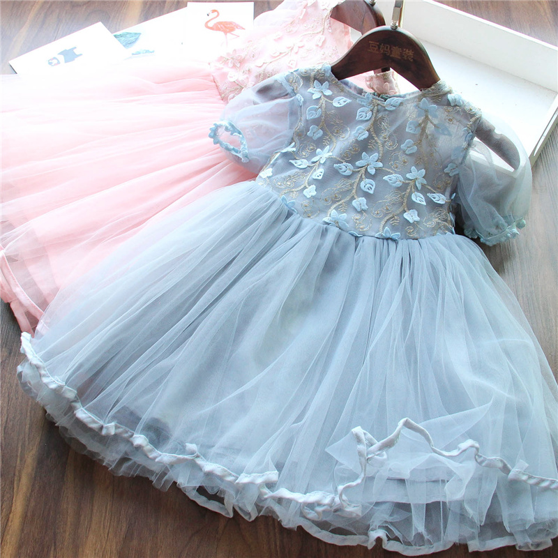 Lace Flower Princess Dress 3 5 8 Years Kids Dresses For Girls Summer Party Tutu Children Clothing Embroidery Wedding Dresses