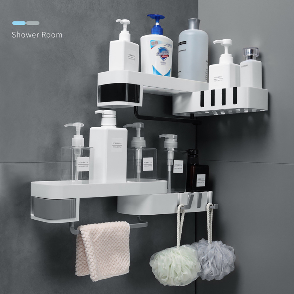 Wall Traceless Corner Storage Rack Nail-free Shower Shelf Organizer Kitchen Bathroom Self-adhesive Holder Dropshipping