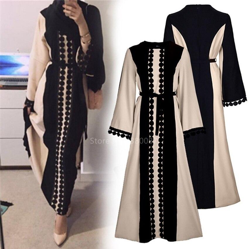 New Muslim Robe Islamic Clothing For Women Middle East Duibai Arab Ramadan Prayer Lace Polka Stiching Elegant Abaya Belt Dress