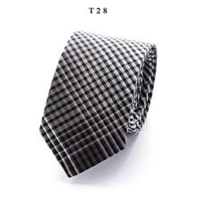 Мода полосой хлопок галстуки для мужчин классический тощий 6 см шеи галстук черный серый Cravate узкий толстый свадебные костюмы