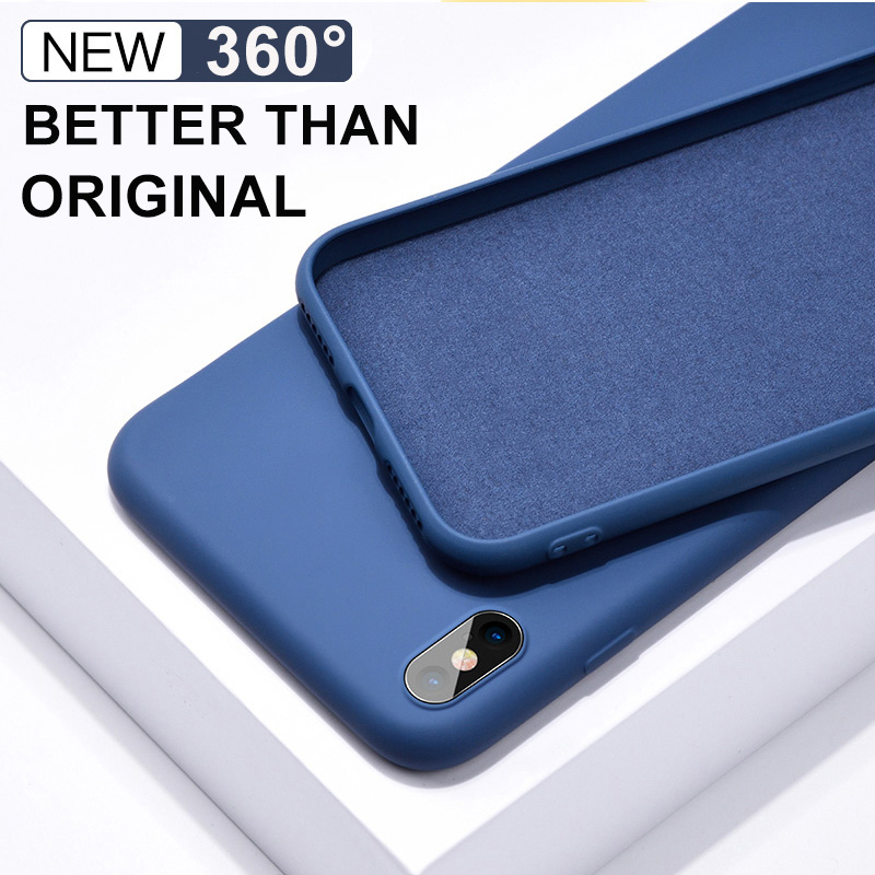 Soft Liquid <font><b>Silicone</b></font> <font><b>Case</b></font> for Apple <font><b>iPhone</b></font> <font><b>X</b></font> XS MAX XR <font><b>Original</b></font> Cover for Coque <font><b>iPhone</b></font> 7 8 6S Plus 7Plus Capa funda No Logo image