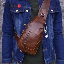AETOO Soft Men Genuine Leather Chest Bag Bags Mens crossbody Shoulder Burglarproof Messenger Travel Male