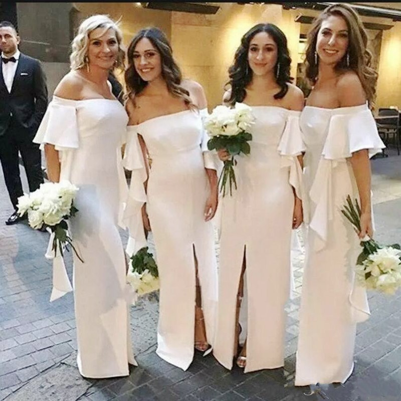Chiffon Long Bridesmaid Dresses With Short Sleeves Off The Shoulder Maid Of Honor Dress Front Split Ruffles Sheath Prom Gowns