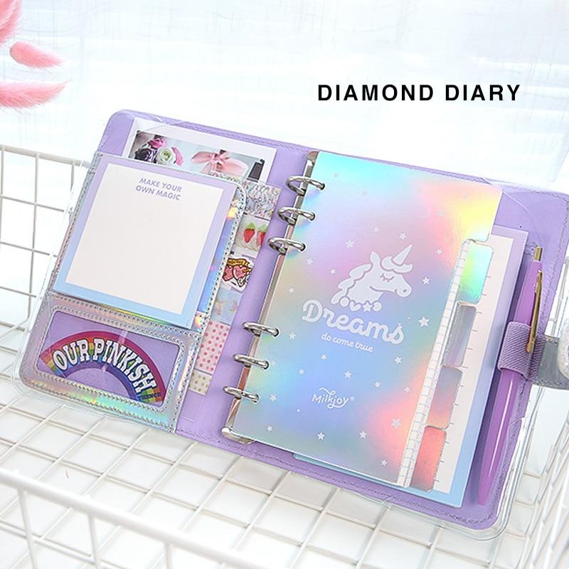 A6 Diary Notebook And Bullet Journal DIY Agenda Planner Organizer Ring Kawaii Binder Note Book Diamond Spiral Travel Handbook