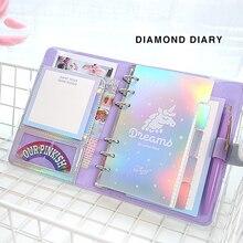 A6 Ring Diary DIY Agenda Planner Organizer Kawaii Binder Diamond Notebook and Journal Spiral Note Book Korean Travel Handbook