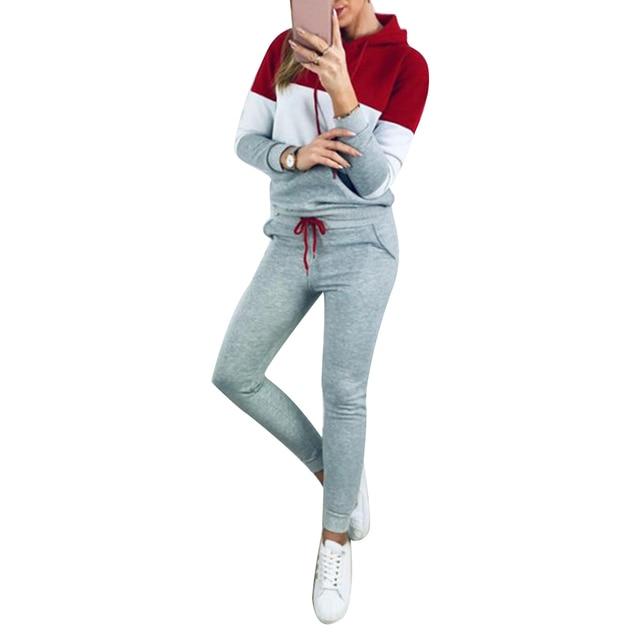Winter Autumn Tracksuit Women Long SleeveTracksuit Set Sports Two-piece Tracksuits Color Block Long Sleeve Hoodies Pants Set