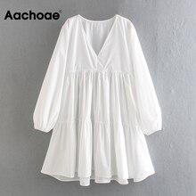 Casual Dress Long-Sleeve Aachoae Elegant White Mini Lantern Vestidos Female A-Line Chic