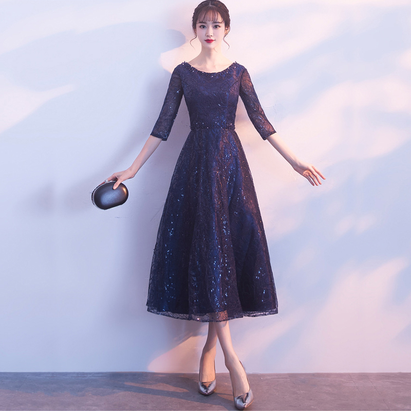 Navy Blue Bride Prom Dress XS-3XL Oriental Women Wedding Cheongsam Elegant Long Qipao Luxury Ball Gown Party Dresses Vestido