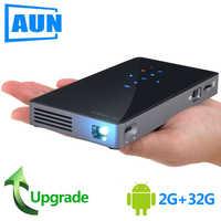 AUN MINI proyector D5S (P8I) Android 7,1 (+ 32 2G) de 5G WIFI 5000mAH batería portátil proyector LED 1080P Video 3D beamer