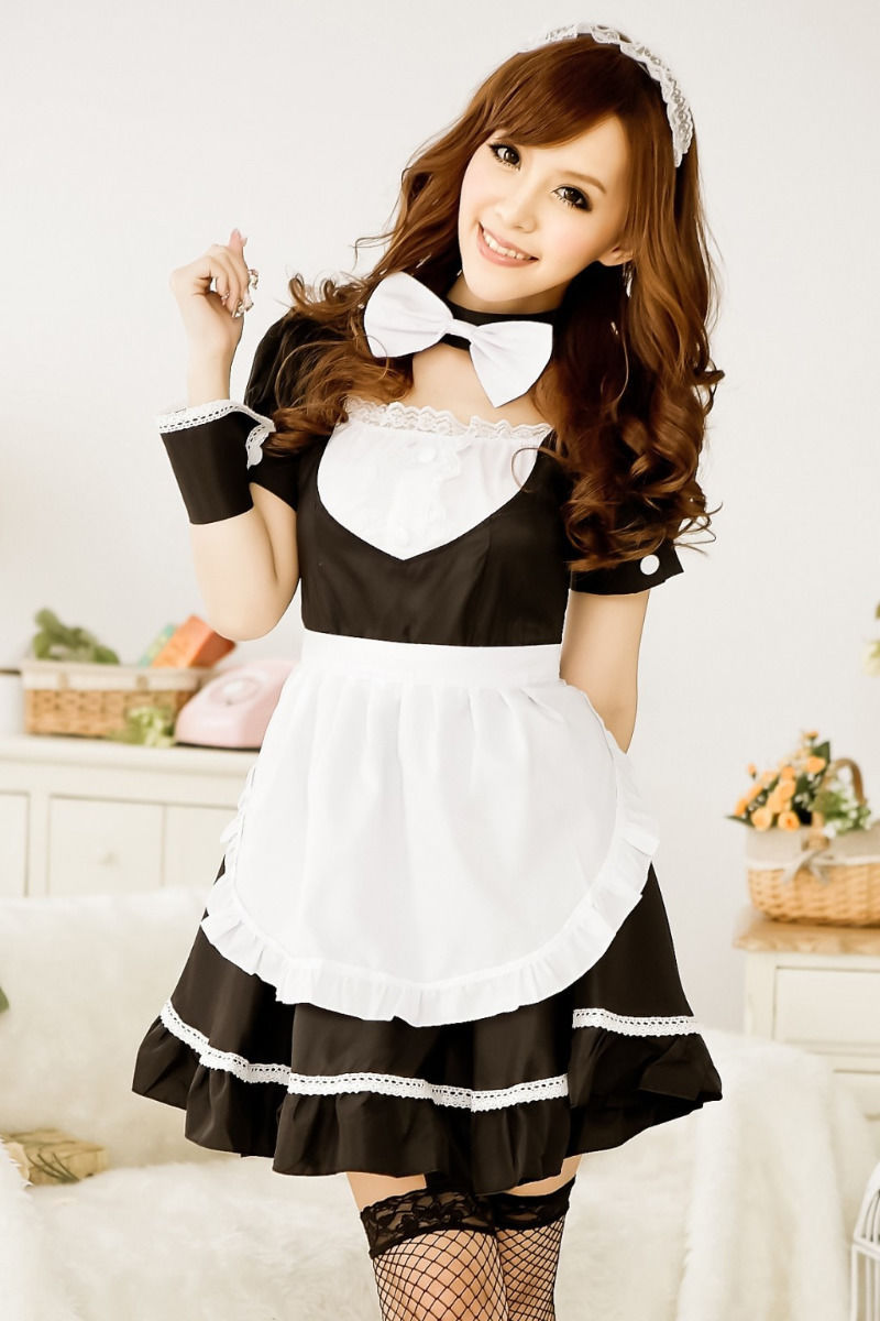 <font><b>Sexy</b></font> French Maid Costume Sweet Gothic <font><b>Lolita</b></font> Dress Anime <font><b>Cosplay</b></font> Sissy Maid Uniform Halloween Costumes For Women image