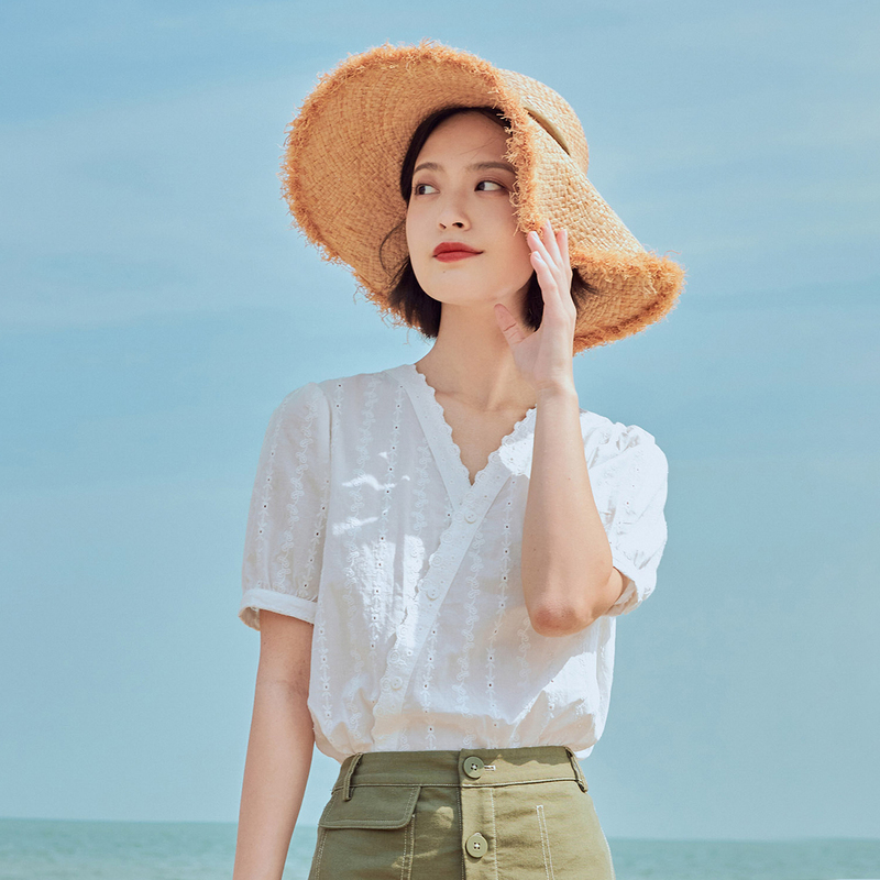 INMAN 2020 Summer New Arrival Fit Style Blouse Artsy Sweet V Neck Embroidery Short Sleeve Women Blousa