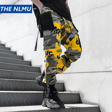 Color Camo Cargo Pants 2019 Mens Fashion Baggy Trouser Hip Hop Casual Cotton Multi Pockets Pants Streetwear W0091 multi pockets drawstring cuff camo cargo pants